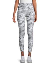 WEAR IT TO HEART Striped & Camo Print Cropped Leggings - Gray