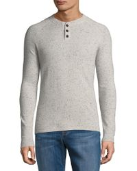 Saks Fifth Avenue Donegal Cashmere Henley - Gray