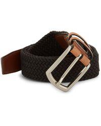Saks Fifth Avenue Woven Contrast Belt - Black