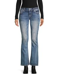 Miss Me Cropped Flared Jeans - Blue