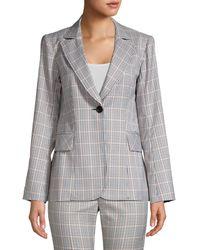 Nanette Lepore Groovy Glen Plaid Single-breasted Jacket - Grey