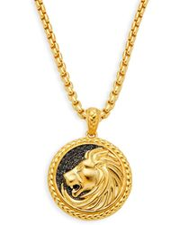 Effy Goldplated Sterling Silver & Black Sapphire Embossed Lion Pendant Necklace - Multicolour