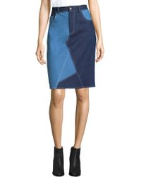 Harvey Faircloth - Asymmetric Seam Patchwork Pencil Skirt - Lyst