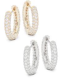 Adriana Orsini 2-piece Goldtone & Crystal Huggie Hoop Earring Set - Multicolour