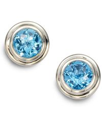 John Hardy - Bedeg Swiss Blue Topaz & Sterling Silver Stud Earrings - Lyst