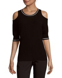Zoe Jordan Mayer Rib-knit Cold-shoulder Pullover - Black
