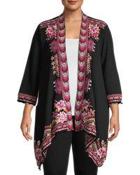 Johnny Was Floral Cotton-blend Kimono - Black