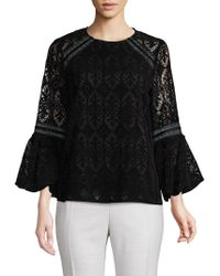 Laundry by Shelli Segal - Lace Bell-sleeve Top - Lyst