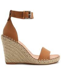 Dolce Vita Women's Noor Leather Raffia Platform Wedge Sandals - Tan Leather - Size 9.5 - Brown