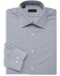 Ike Behar Micro Check Long-sleeve Dress Shirt - Gray