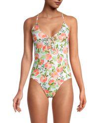 BCBGeneration Peach-print One-piece Swimsuit - White