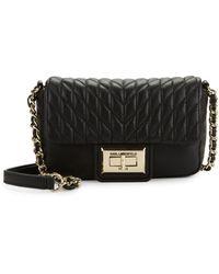 Karl Lagerfeld Agyness Leather Crossbody Bag - Black