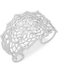 Adriana Orsini - Crystal Floral Cuff Bracelet - Lyst