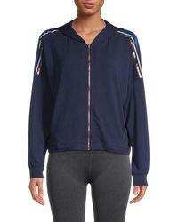 Splendid Striped Hooded Jacket - Blue