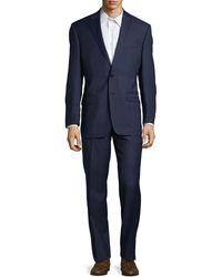 Lauren by Ralph Lauren Check Ultraflex Classic-fit Wool Suit - Blue