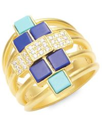 Freida Rothman - 14k Yellow Gold & Cubic Zirconia Bricked Lapis Ring - Lyst