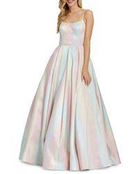 Mac Duggal Pastel Rainbow Ball Gown - Multicolour