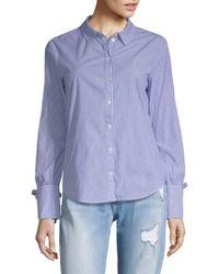 Sanctuary Lace-up Stripe Shirt - Blue
