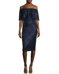 THEIA - Off-the-shoulder Lace Dress - Lyst