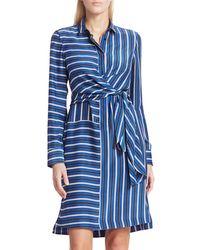 Akris Punto Striped Silk Wrap Dress - Blue