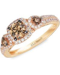 Le Vian Chocolatier® 14k Strawberry Gold®, Chocolate Diamond® & Vanilla Diamond® Ring - Metallic