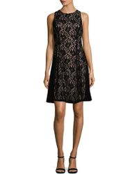 Maggy London - Velvet Lace Fit-&-flare Dress - Lyst