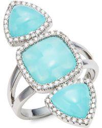 BaubleBar - Trinity Turquoise Silvertone Ring - Lyst