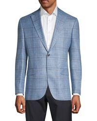 Saks Fifth Avenue Regular-fit Wool, Silk & Linen Plaid Sportcoat - Blue
