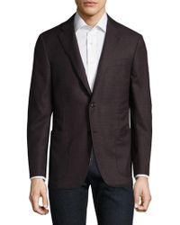 Hickey Freeman Burgundy Wool Blazer - Black