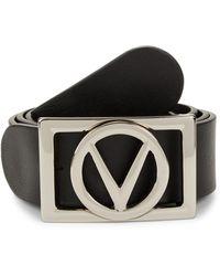 Valentino By Mario Valentino V-logo Leather Belt - Black