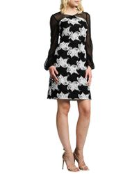 Kay Unger - Illusion Floral Cocktail Dress - Lyst