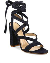 Gianvito Rossi Denim Lace-up Gladiator Sandals - Blue