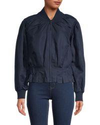 FRAME Shawl Collar Pintuck Jacket - Blue