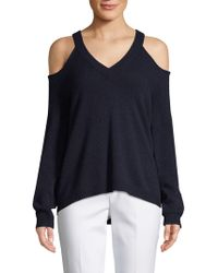 Saks Fifth Avenue Black - Wool & Cashmere Cold-shoulder Jumper - Lyst