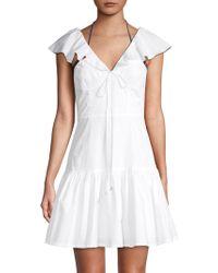 6 Shore Road By Pooja Ruffled Cotton Mini A-line Dress - White