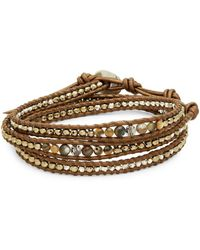 Chan Luu - Beaded Sterling Silver And Leather Bracelet - Lyst