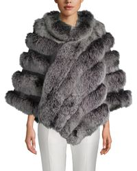 Belle Fare Dyed Fox Fur Asymmetric Poncho - Brown