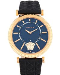 Versace - V-helix Stainless Steel & Leather Strap Quartz Watch - Lyst