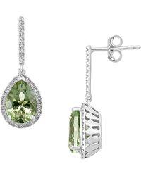 Effy 14k White Gold, Amethyst & Diamond Drop Earrings - Metallic