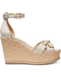 Michael Kors Ripley Ankle-strap Espadrille Wedges - Natural