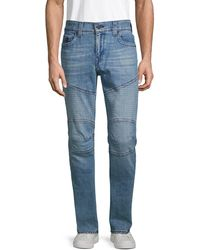 True Religion Rocco Moto Relaxed Skinny Jeans - Blue