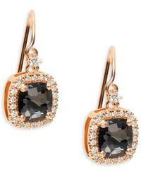Suzanne Kalan Women's 18k Rose Gold, Black Night Quartz & White Diamond Drop Earrings