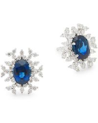 Hueb - 18k White Gold Sapphire & Diamond Starburst Earrings - Lyst