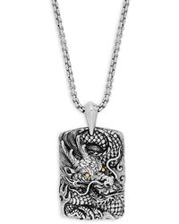 Effy 18k Gold And Sterling Silver Dragon Pendant Necklace - Metallic