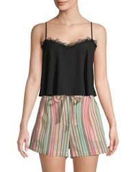 BCBGMAXAZRIA Lace-trimmed Cropped Top - Black