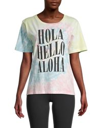 Chrldr Hola Hello Aloha Tie-dye Cotton T-shirt - Multicolour