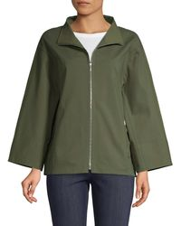 Lafayette 148 New York Ford Stand Collar Jacket - Green