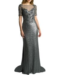Basix Black Label Illusion Sequin Gown - Grey