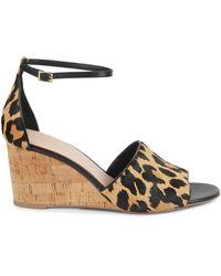Kate Spade Lonnie Leopard Calf-hair Wedge Sandals - Black