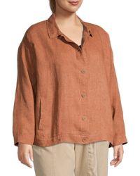 Eileen Fisher Women's Plus Organic Linen Shirt Jacket - Cinnamon - Size 2x (18-20) - Brown